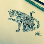 Dessin mandala tatouage chat se lechant une patte