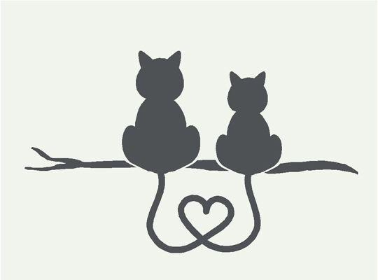 Tatouage symboles amours avec 2 chats assis de dos et queues melees formant un coeur
