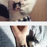 Tatouage tete de chat femme interieur poignet