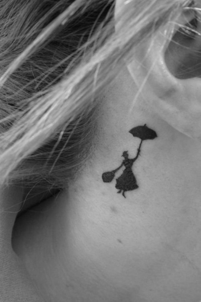 Tattoo discret femme derriere oreille mary poppins
