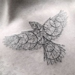 Beau tatouage geometrique oiseau ailes deployees