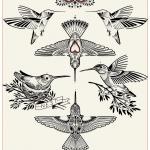 Tatouage 12 symboles oiseaux fille