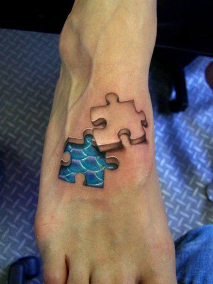 Photo tattoo feminin pied 3d piece de puzzle