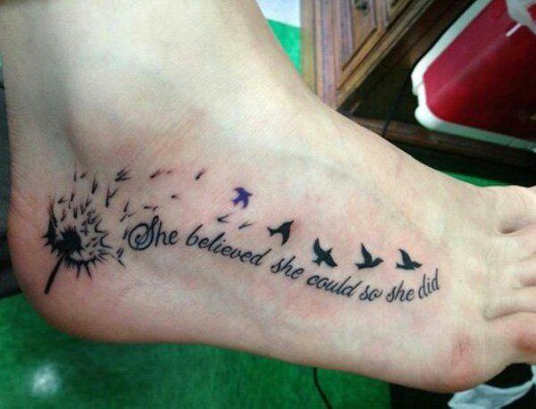 Tattoo Cote Pied Femme Dandelion Hirondelle Et Phrase Tatouage Femme