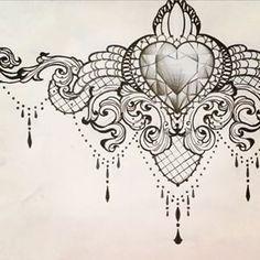 Exemple dessin tatouage avec dentelle sous poitrine