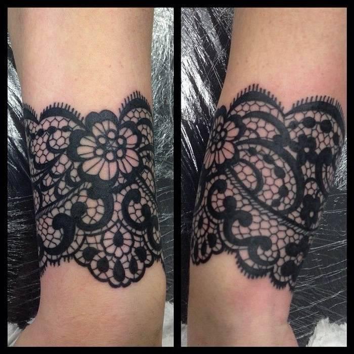 Joli tatouage bracelet large dentelle guipure