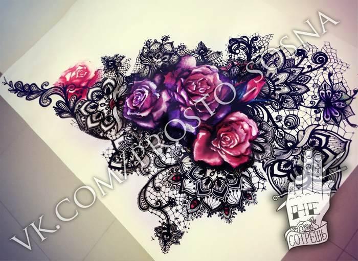 Magnifique tatouage femme dentelle et roses couleurs