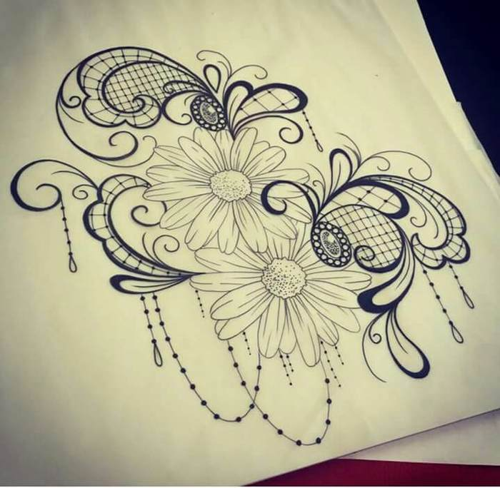 Modele tatouage dentelle avec fleurs arabesques et resille
