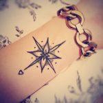 Photo tattoo feminin rose des vents avec coeur interieur poignet