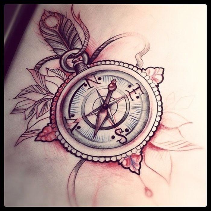 tatouage boussole et plume avec corde pour femme - tatouage femme
