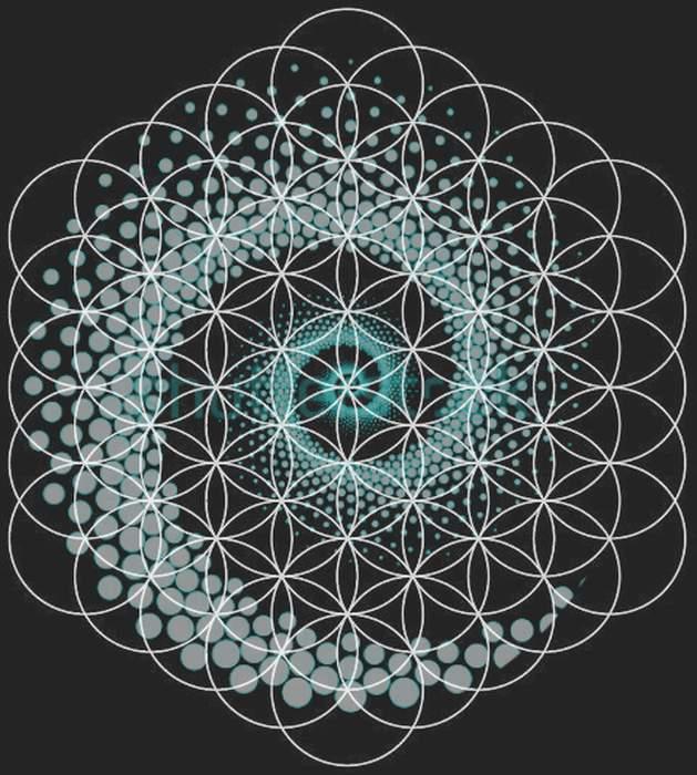 Exemple idee tattoo feminin fleur de vie avec spirale fibonacci