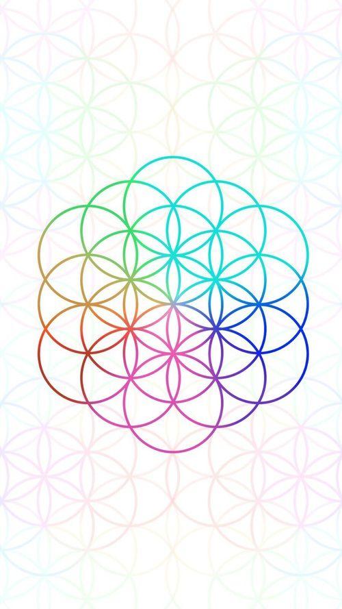 Fleur de vie arc en ciel pour motif tatouage
