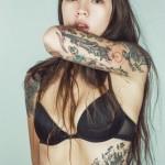 tatouage femme manchette dague tete de mort style old school