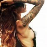 tattoo bras manchette rose et dentelle guipure